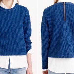 J. Crew Blue Diamond Quilted Indigo Sweatshirt